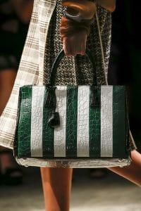 Prada White/Green/Black Striped Crocodile Top Handle Tote Bag - Spring 2016