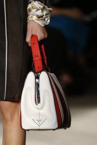 Prada White/Red/Black Striped Top Handle Bag 2 - Spring 2016