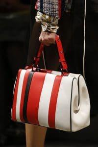 Prada White/Red/Black Striped Top Handle Bag - Spring 2016