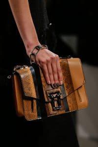 Proenza Schouler Tan/Black Leather/Python Flap Bag - Spring 2016
