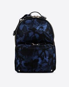 Valentino Blue Camu Butterfly Rockstud Medium Backpack Bag