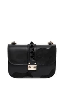 Valentino Camonoir Patchwork Suede/Leather Lock Shoulder Bag