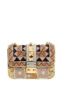 Valentino Gold/Black Beaded Mini Lock Shoulder Bag