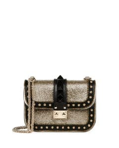 Valentino Gold/Black Glitter/Leather Glam Lock Shoulder Bag