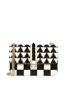 Valentino Ivory/Black Geometric Beaded Snakeskin/Leather Lock Shoulder Bag