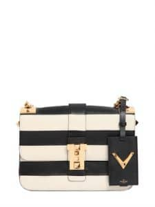 Valentino Ivory/Black Striped B-Rockstud Flap Bag