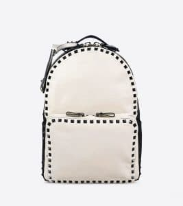 Valentino Ivory/Black Rockstud Backpack Medium Bag