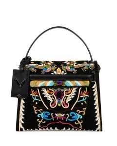 Valentino Multicolor Dragon Embroidered My Rockstud Top Handle Bag