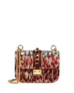 Valentino Multicolor Painted Feathers Lock Shoulder Bag