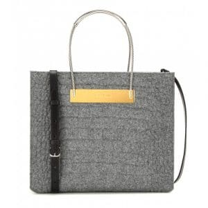 Balenciaga Grey Crocodile Embossed Wool and Leather Cable Shopper Bag