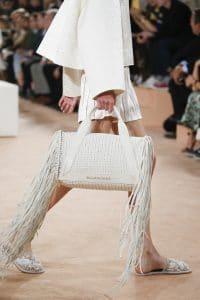 Balenciaga Off White Woven Tasseled Top Handle Bag - Spring 2016