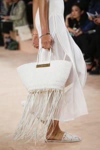 Balenciaga Off White Woven Tasseled Tote Bag - Spring 2016