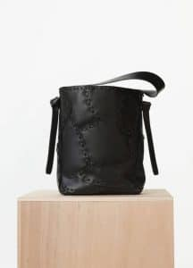Celine Black Natural Calfskin Small Patchwork Twisted Cabas Bag