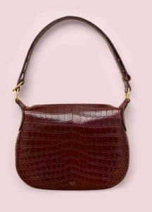 Celine Burgundy Crocodile Small Saddle Bag