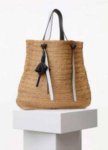 Celine Natural Straw Weaving and Black Calfskin Large Basket Bag