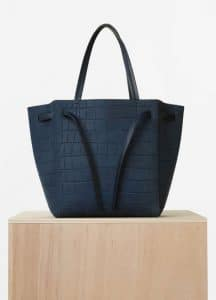 Celine Navy Blue Nubuck Stamped Crocodile Small Cabas Phantom Bag