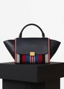 Celine Navy Blue/Multicolor Calfskin/Cotton Woven Trapeze Small Bag