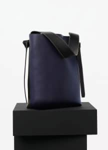 Celine Navy/Dark Green Shiny Smooth Calfskin Twisted Cabas Small Bag