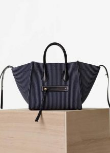 Celine Navy/White Textile Medium Luggage Phantom Bag