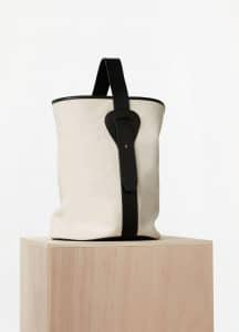 Celine Washed Canvas and Black Vegetal Calfskin Large Canvas Bucket Bag