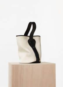 Celine Washed Canvas and Black Vegetal Calfskin Small Canvas Bucket Bag