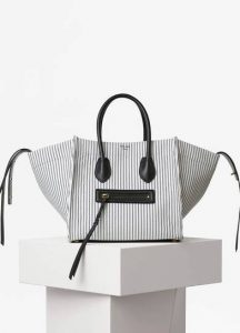 Celine White/Navy Textile Medium Luggage Phantom Bag