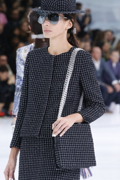 Chanel Blue/White Checkered Shoulder Bag - Spring 2016