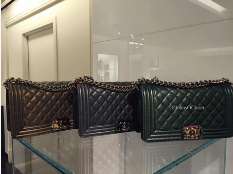 Chanel Boy Bags with Rainbow Hardware
