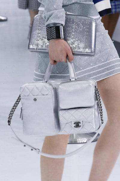 Chanel Grey Top Handle Bag and Silver Studded Clutch Bag - Spring 2016