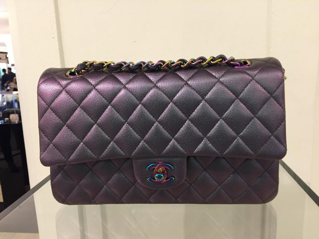 Chanel Purple Classic Flap Bag with Rainbow Hardware