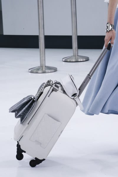 Chanel Silver Crocodile Flap Bag and White Quilted Luggage Bag 2 - Spring 2016