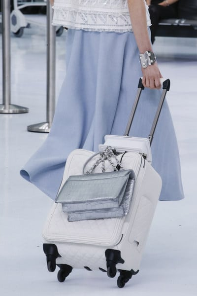 Chanel Silver Crocodile Flap Bag and White Quilted Luggage Bag - Spring 2016