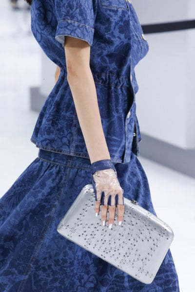 Chanel Silver Studded Clutch Bag - Spring 2016