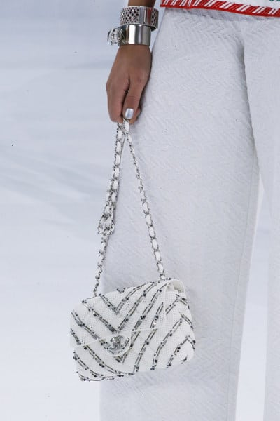 Chanel White Embellished Classic Flap Bag - Spring 2016