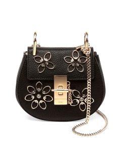 Chloe Black Floral Drew Nano Bag
