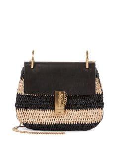 Chloe Black/Natural Raffia Drew Small Bag