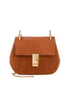 Chloe Brown Leather/Suede Drew Small Bag
