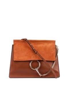 Chloe Caramel Leather/Suede Faye Medium Bag
