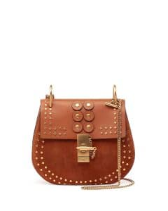 Chloe Caramel Studded Leather:Suede Drew Small Bag
