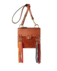 Chloe Caramel Tassel Trim Jane Crossbody Bag
