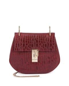 Chloe Dark Red Crocodile Embossed Drew Small Bag