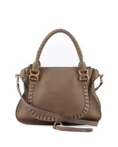 Chloe Gray Studded Marcie Medium Bag