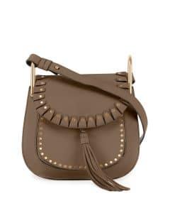 Chloe Grey Studded Hudson Small Bag
