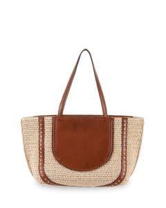 Chloe Natural Woven Isa Shopper Tote Bag