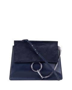 Chloe Navy Leather/Suede Faye Medium Bag