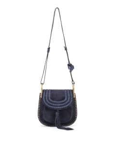 Chloe Navy Suede Hudson Small Bag