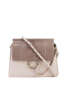 Chloe Off White Python/Leather Faye Medium Bag
