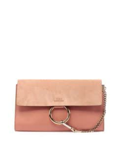 Chloe Rose Suede/Leather Faye Clutch Bag