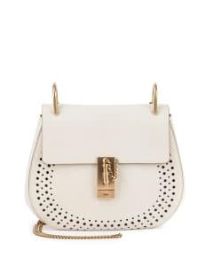 Chloe White Perforated Drew Small Bag