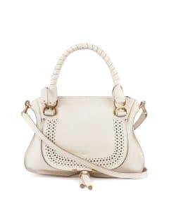 Chloe White Perforated Marcie Medium Bag